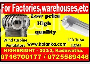 roof ventilators Ventilation fans Wind turbine ventilators  LED tube light srila in Kadawatha